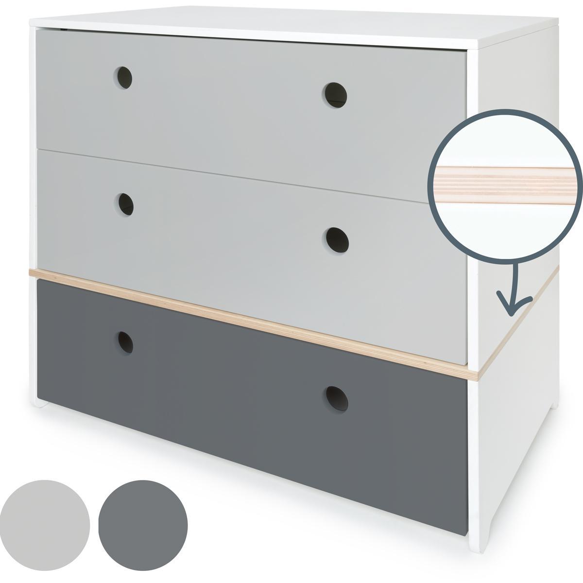 Cómoda COLORFLEX cajones frontales pearl grey-pearl grey-space grey