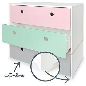 Cómoda COLORFLEX cajones frontales sweet pink-mint-pearl grey