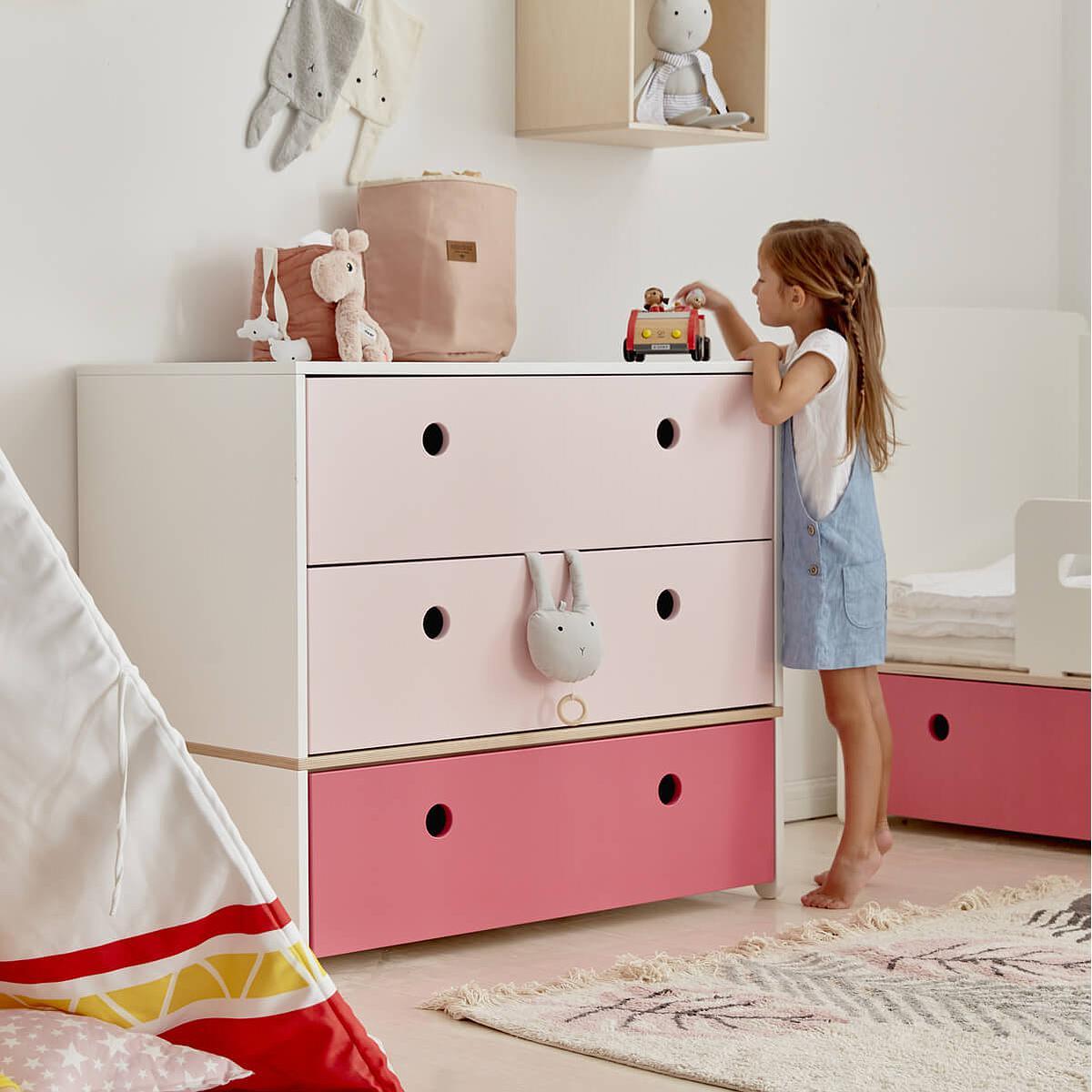 Cómoda COLORFLEX cajones frontales sweet pink-sweet pink-pink