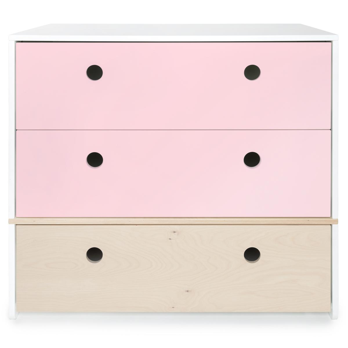 Cómoda COLORFLEX cajones frontales sweet pink-sweet pink-white wash