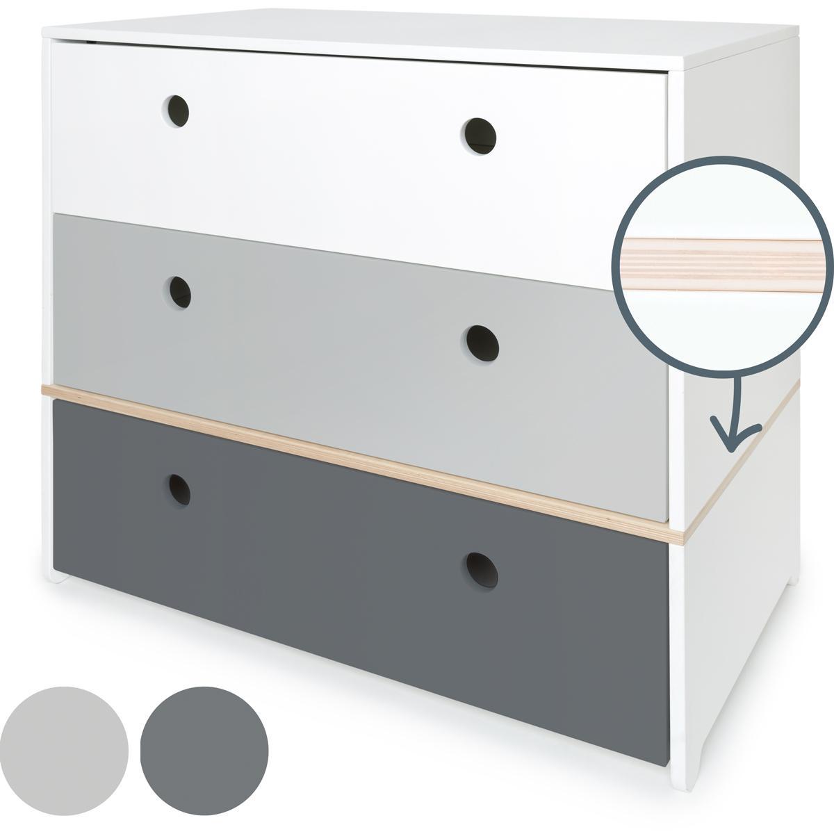 Cómoda COLORFLEX cajones frontales white-pearl grey-space grey