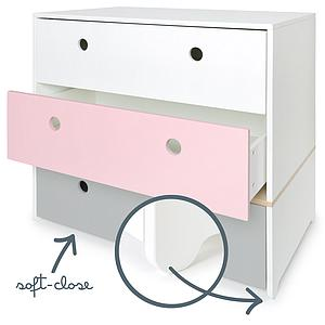 Cómoda COLORFLEX cajones frontales white-sweet pink-pearl grey