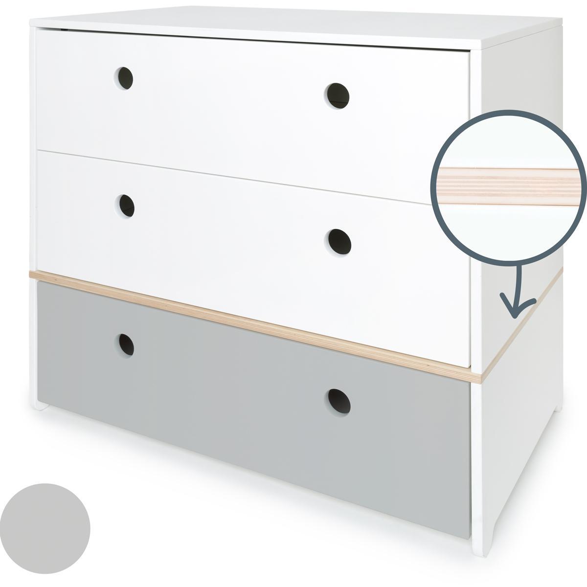 Cómoda COLORFLEX cajones frontales white-white-pearl grey