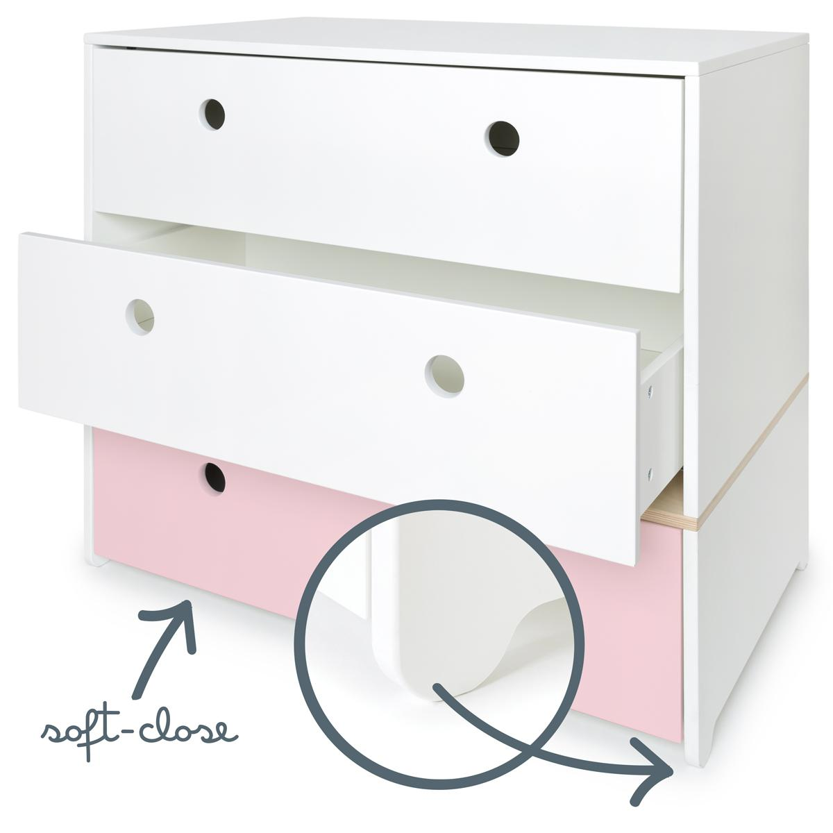 Cómoda COLORFLEX cajones frontales white-white-sweet pink