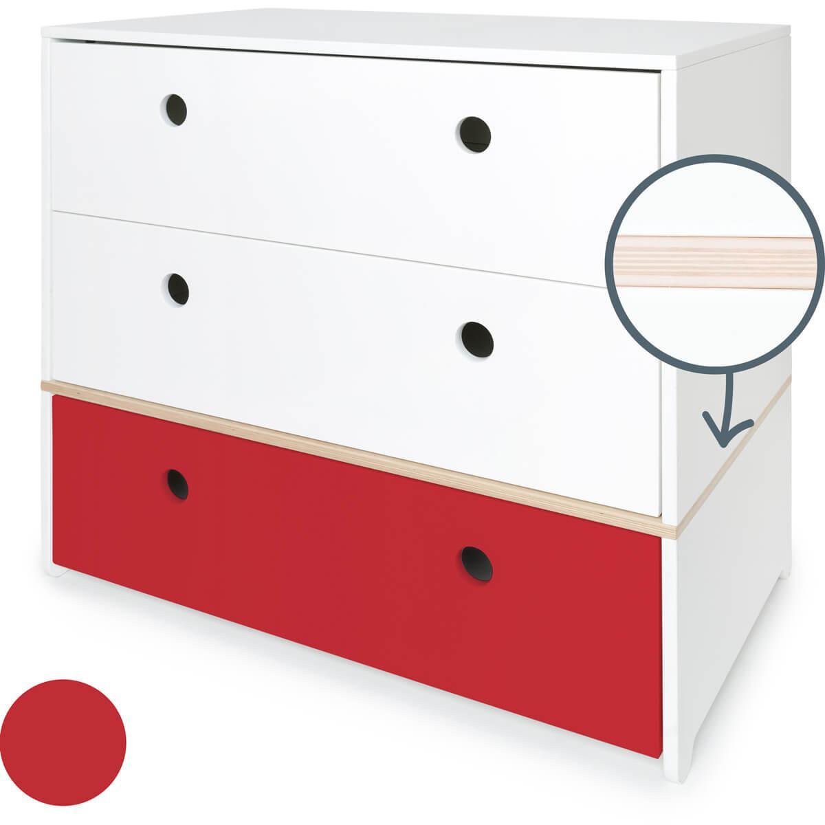 Cómoda COLORFLEX cajones frontales white-white-true red
