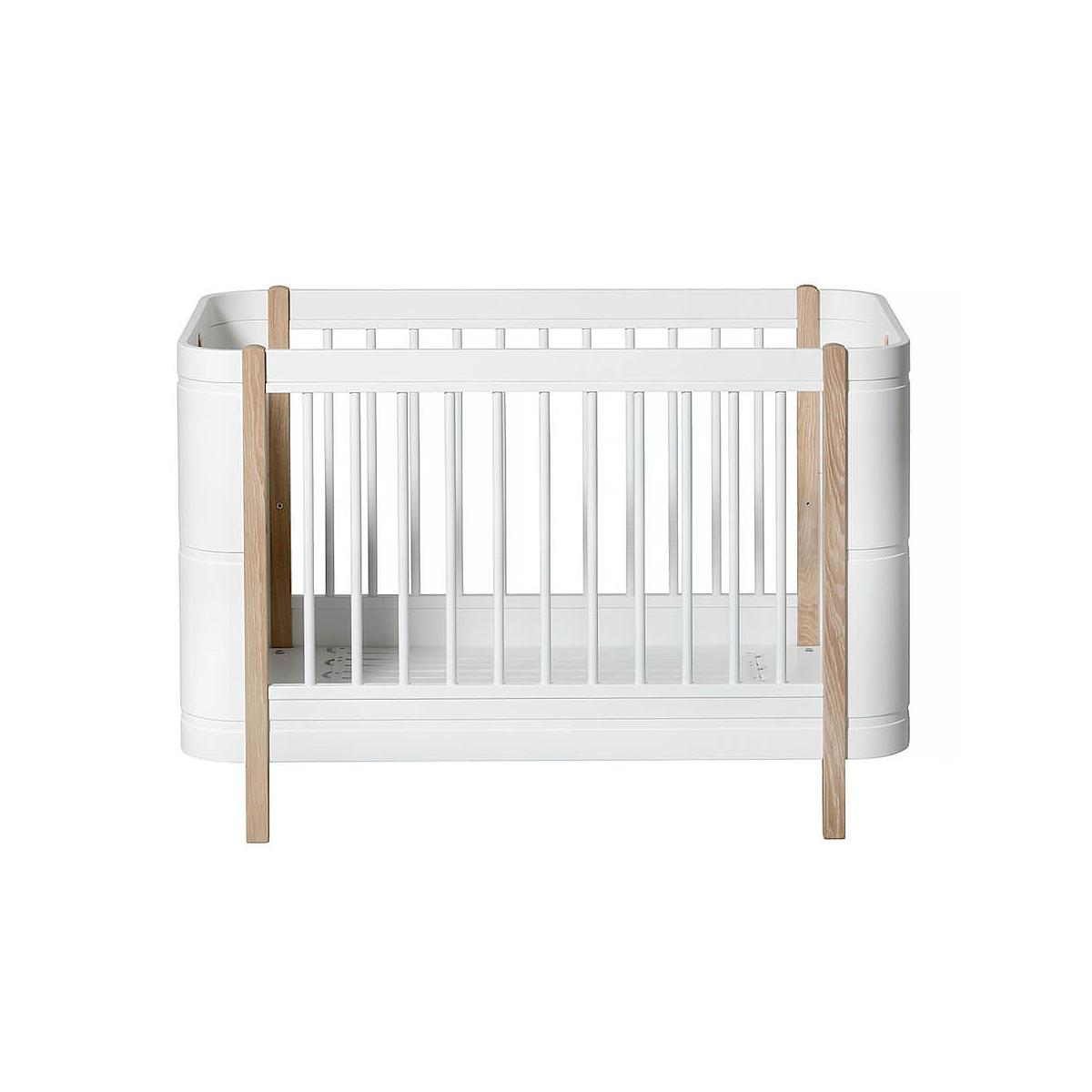 Cuna bebé evolutiva 68x122cm/162cm MINI+ WOOD Oliver Furniture blanco-roble
