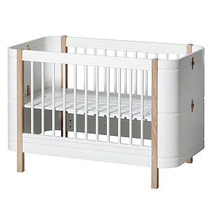 Cuna bebé evolutiva 68x122cm/162cm WOOD MINI+ Oliver Furniture blanco-roble