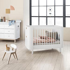 Cuna bebé evolutiva 68x122cm/162cm WOOD MINI+ Oliver Furniture blanco