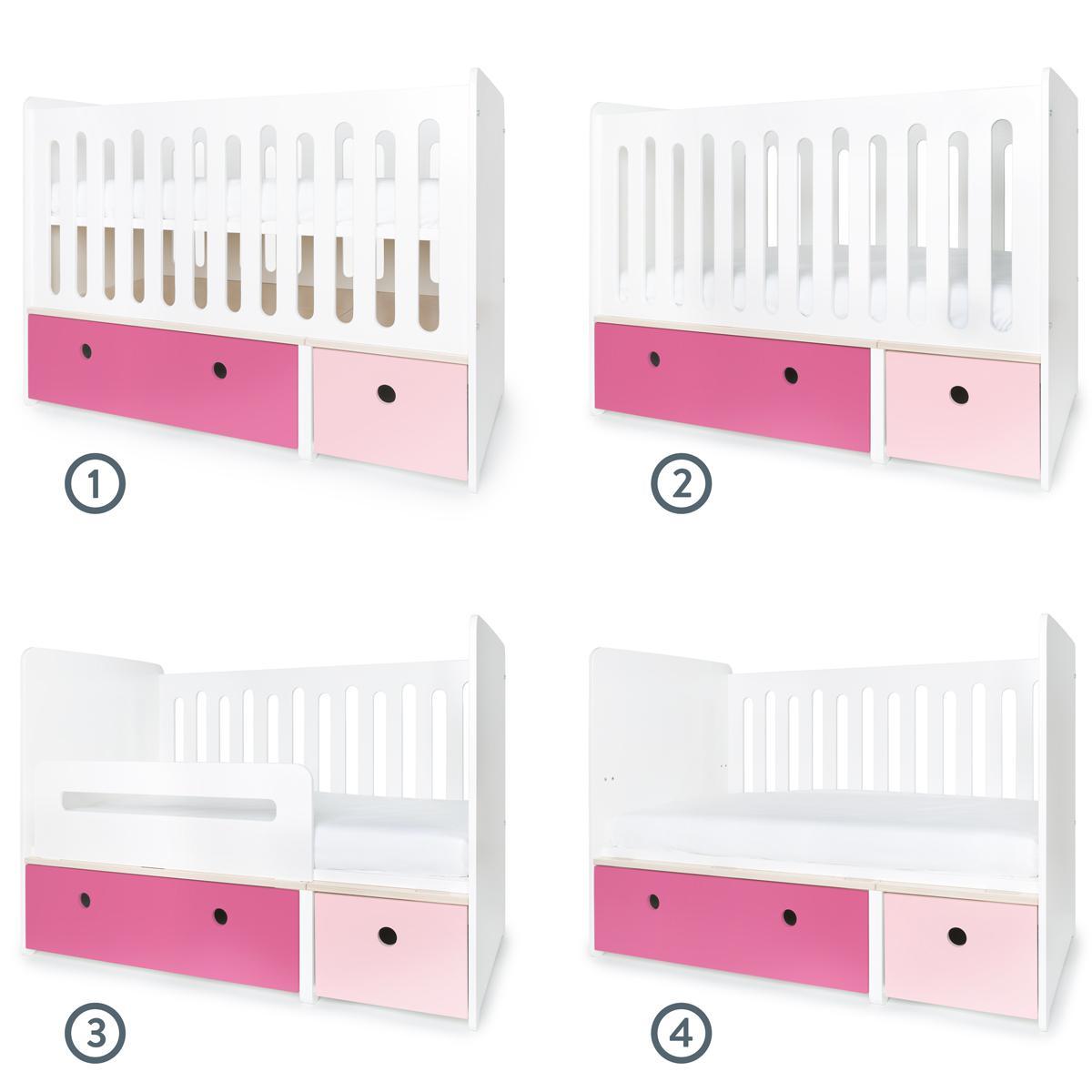 Cuna cama 70x140cm COLORFLEX Abitare Kids frontales sweet pink-pink