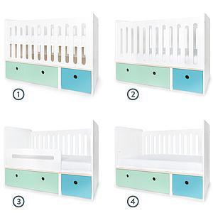 Cuna cama 70x140cm COLORFLEX Abitare Kids mint-paradise blue