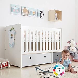 Cuna cama 70x140cm COLORFLEX Abitare Kids mint-pearl grey