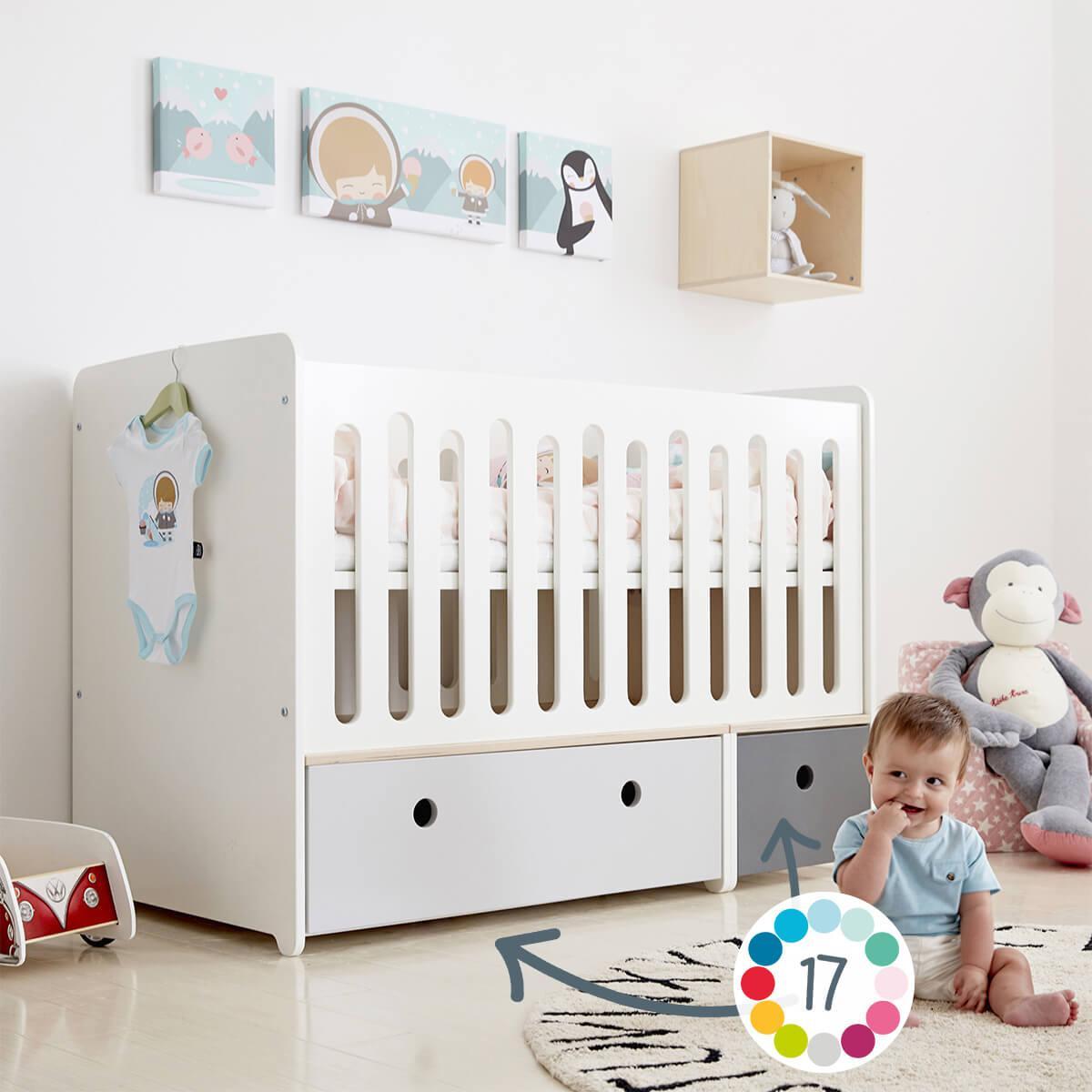 Cuna cama 70x140cm COLORFLEX Abitare Kids pearl grey-white
