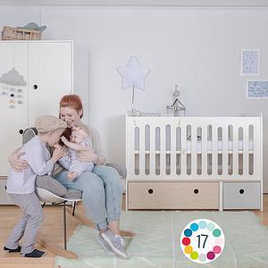 Cuna cama 70x140cm COLORFLEX Abitare Kids white wash-mint