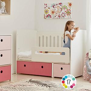 Cuna cama 70x140cm COLORFLEX pink-space grey