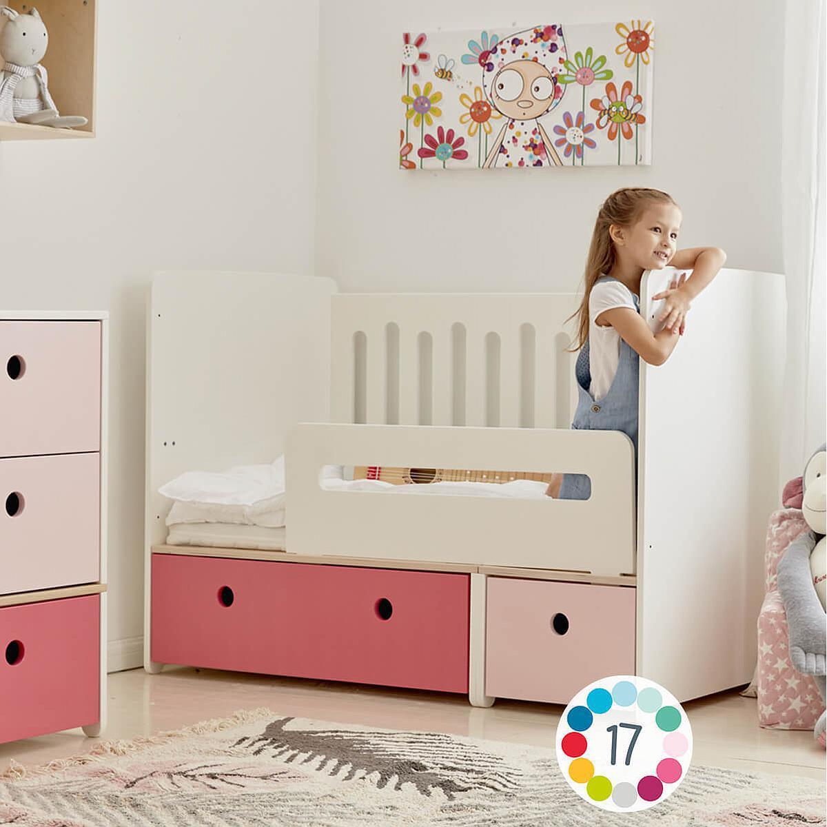 Cuna cama 70x140cm COLORFLEX white-pink