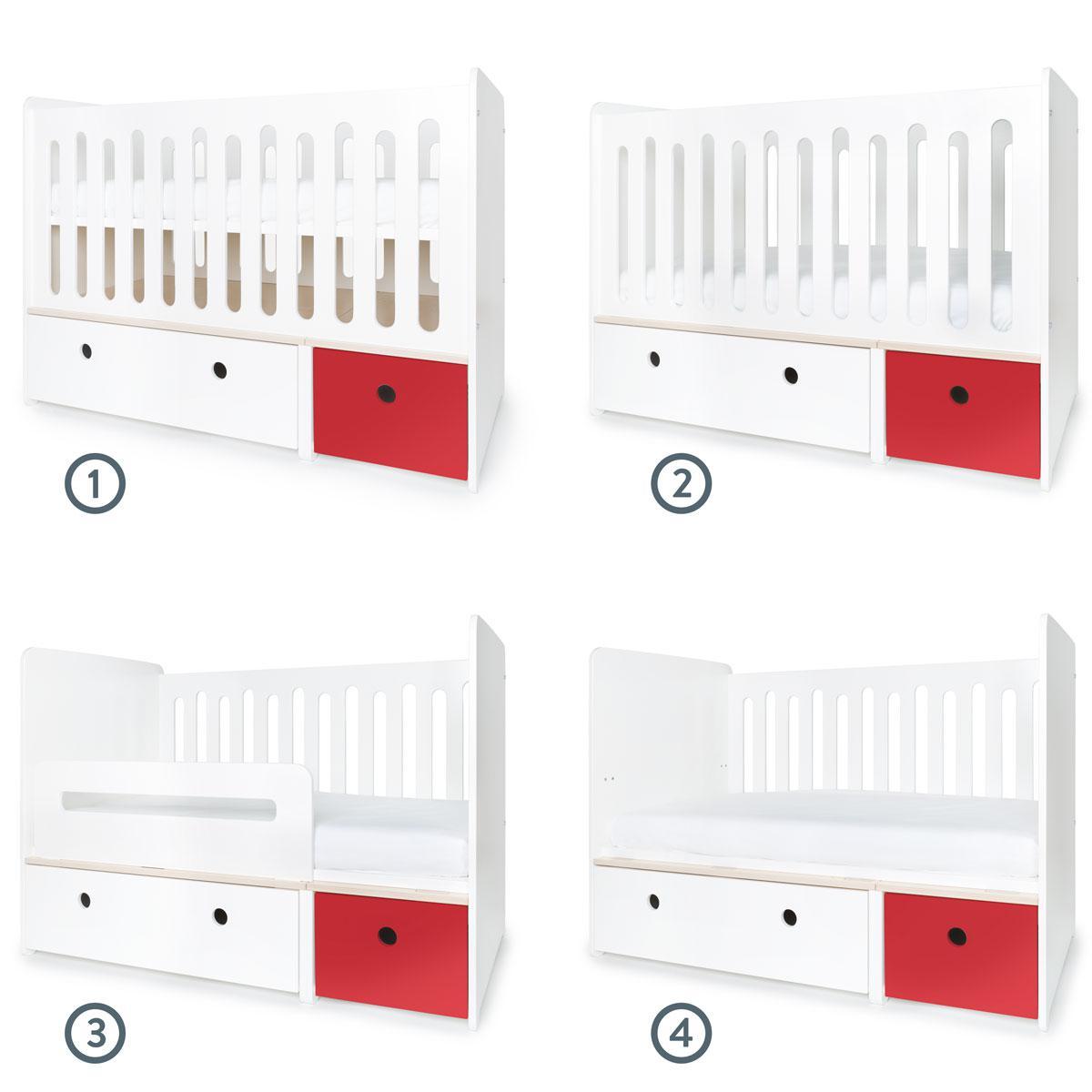 Cuna cama 70x140cm COLORFLEX white-true red
