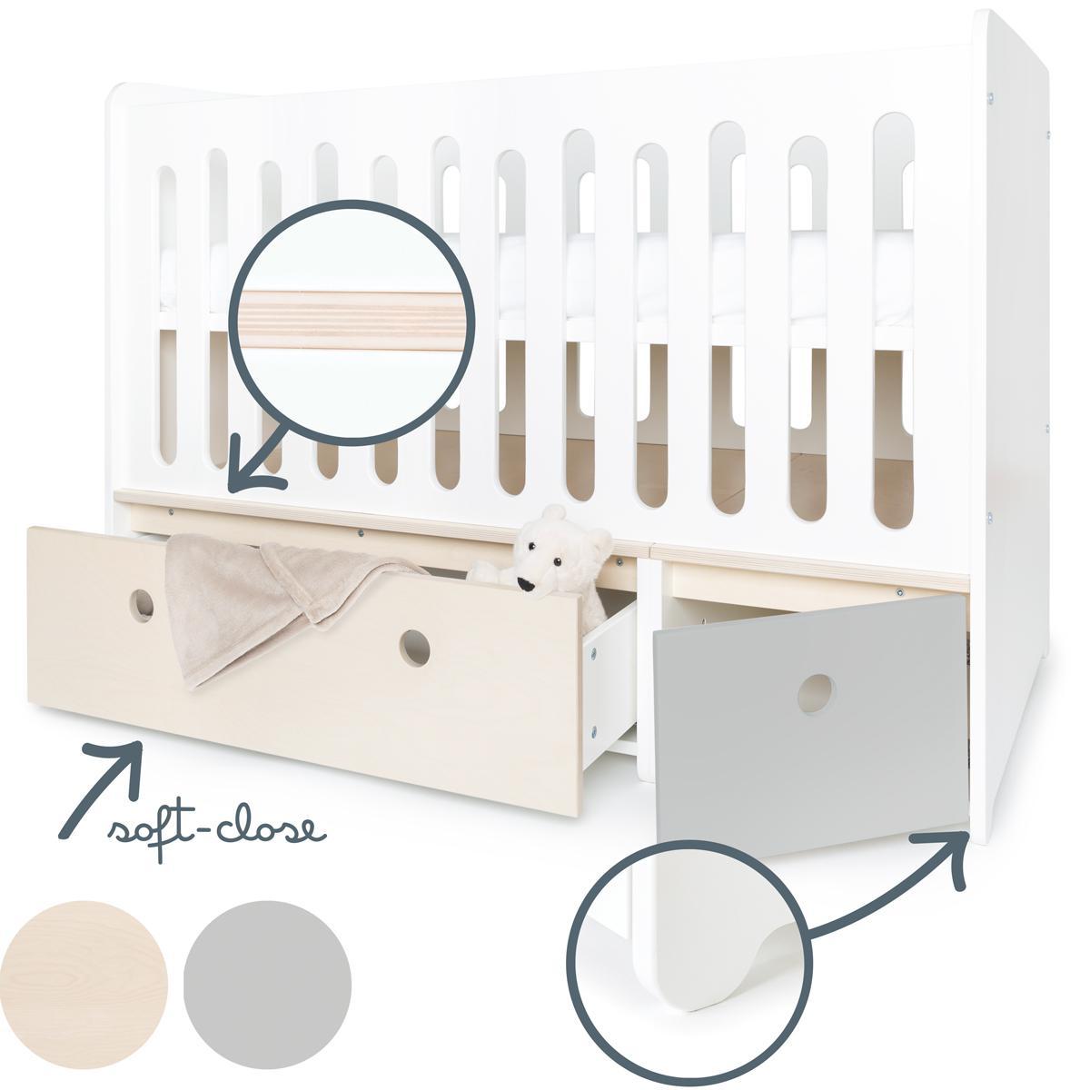 Cuna cama 70x140cm COLORFLEX white wash-pearl grey