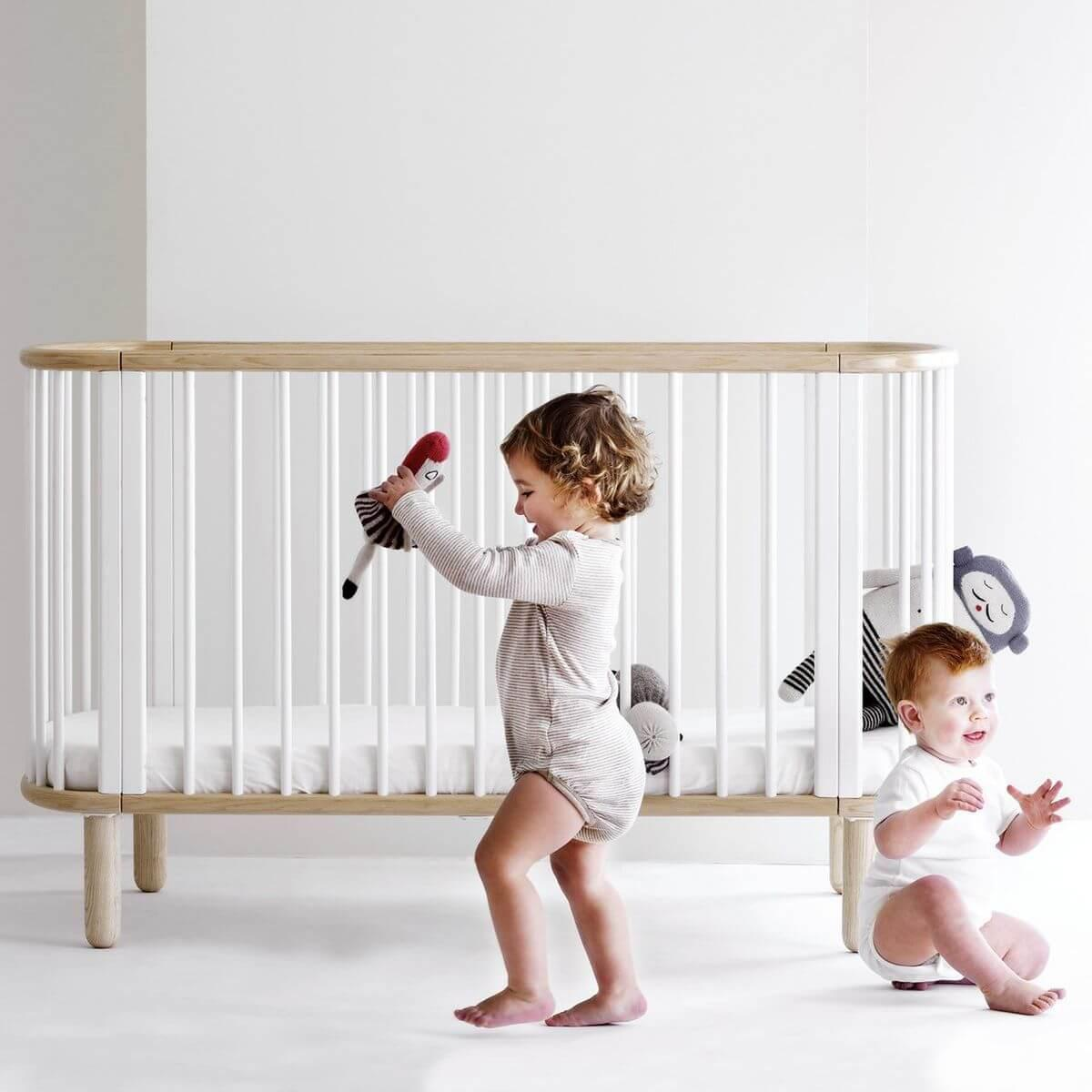 Cuna convertible cama bebé  5 en 1.BABY Flexa natural