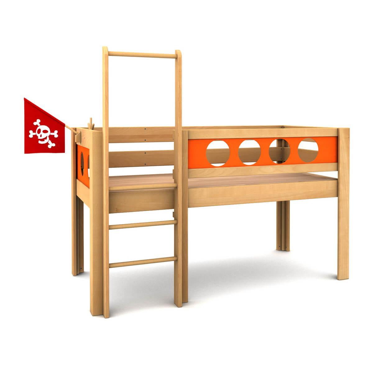 debe.deluxe - Pirat halbhoch, Bett:  geölt (00), Füllungen: orange (45)