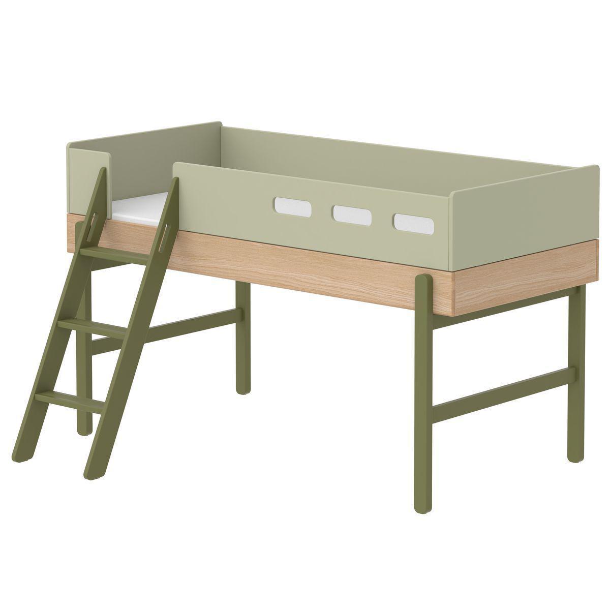 Escalera inclinada cama media alta POPSICLE Flexa kiwi