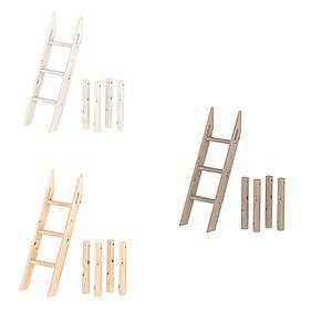Escalera inclinada y patas Cama media alta CLASSIC Flexa blanco cal