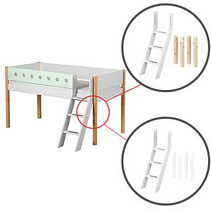 Escalera inclinada y patas Cama media alta WHITE Flexa abedul