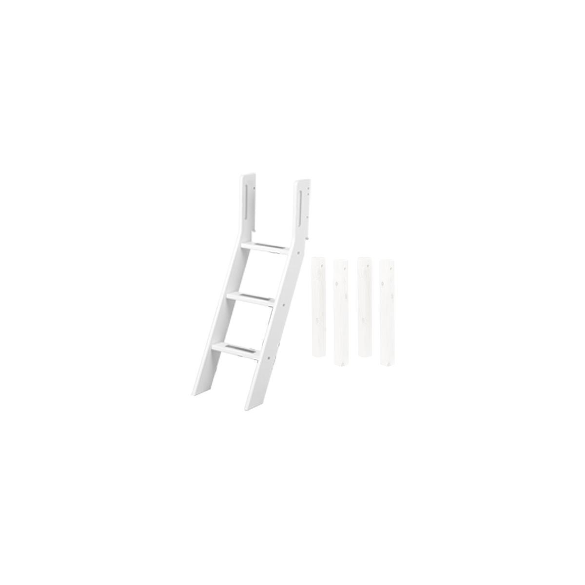 Escalera inclinada y patas Cama media alta WHITE Flexa blancas