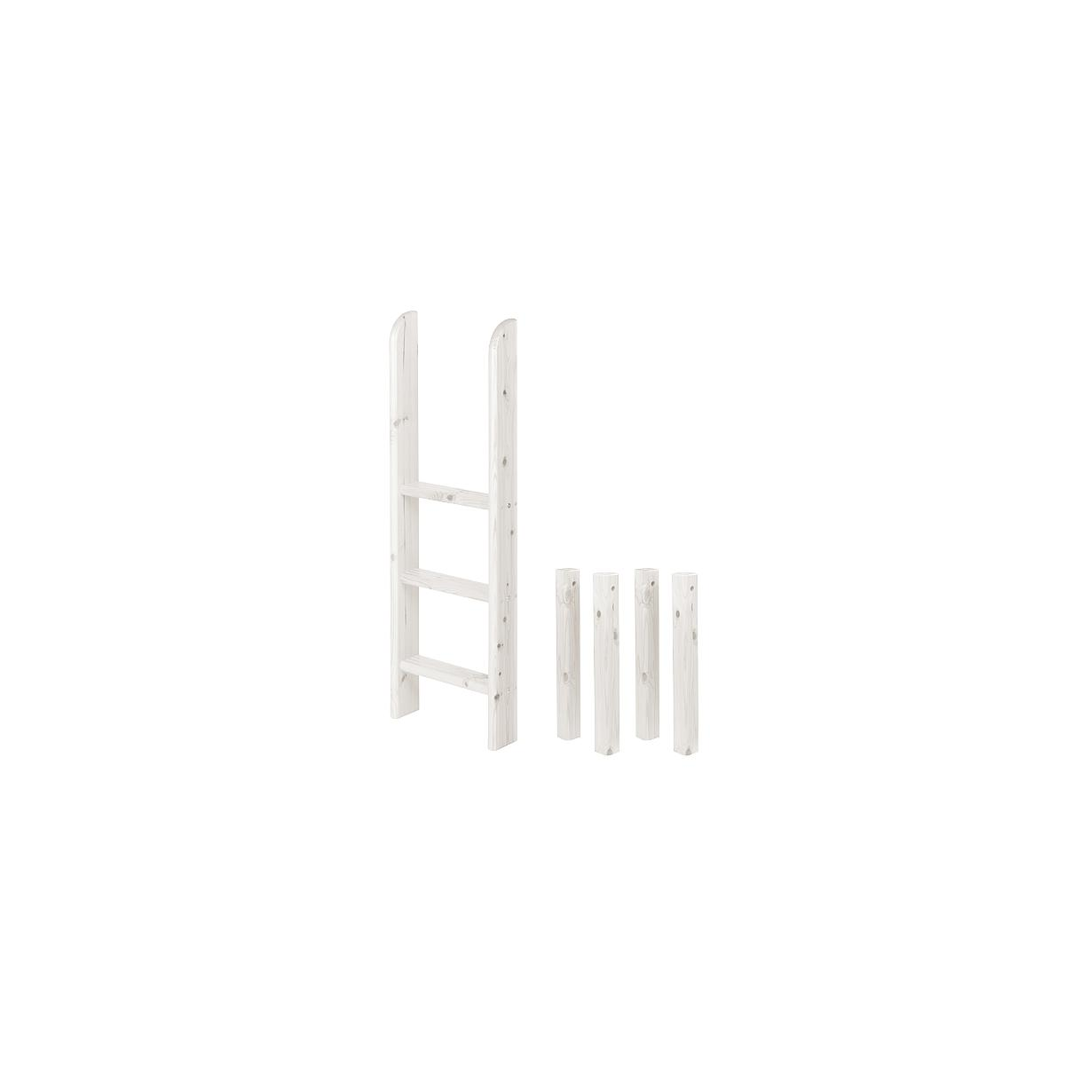 Escalera recta y patas Cama media alta CLASSIC Flexa blanco cal