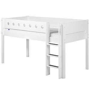 Escalera recta y patas Cama media alta WHITE Flexa blancas