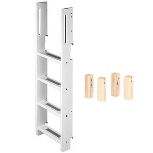 Escalera y unión Litera WHITE Flexa escalera blanca y patas abedul