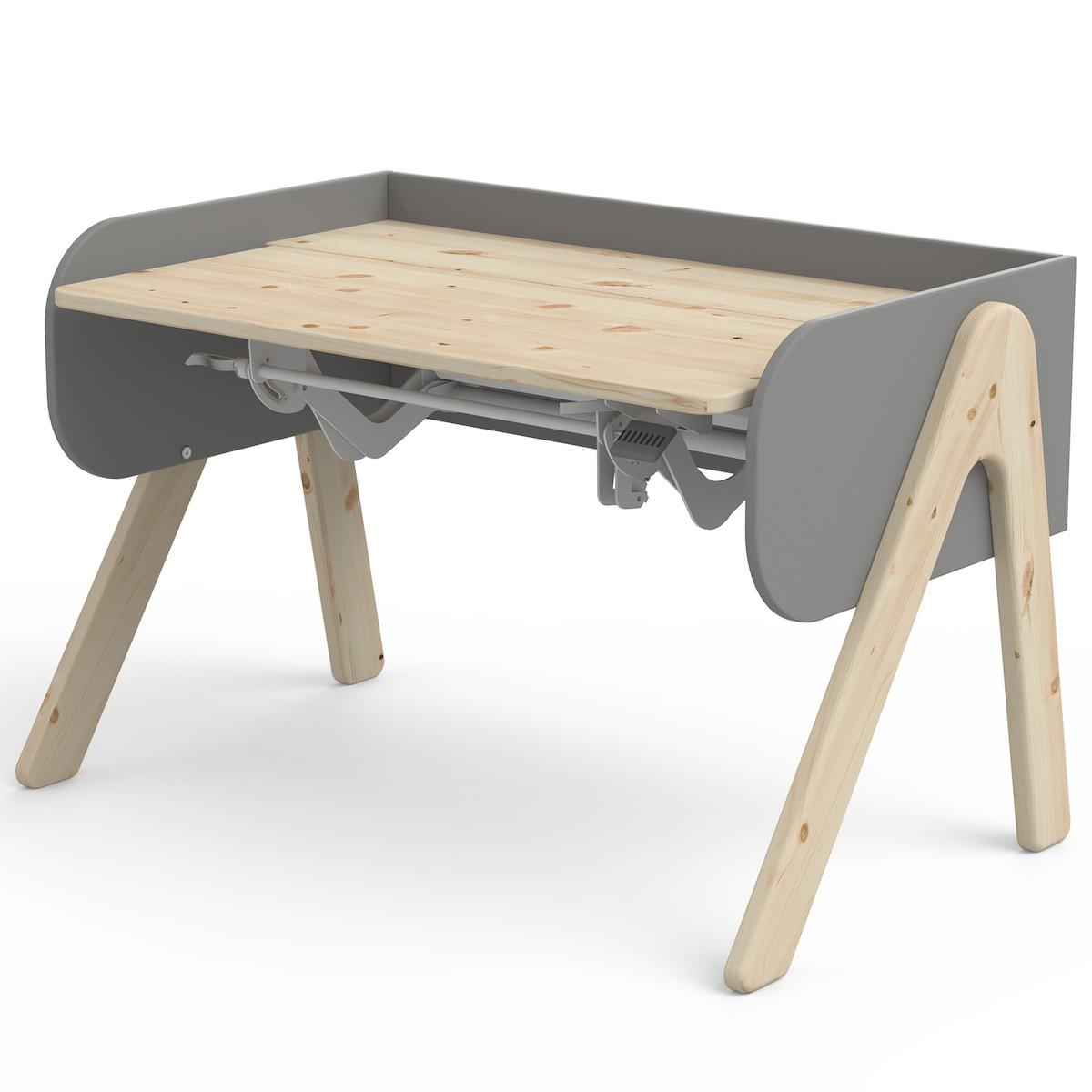 Escritorio evolutivo infantil WOODY Flexa clear lacquer-urban grey