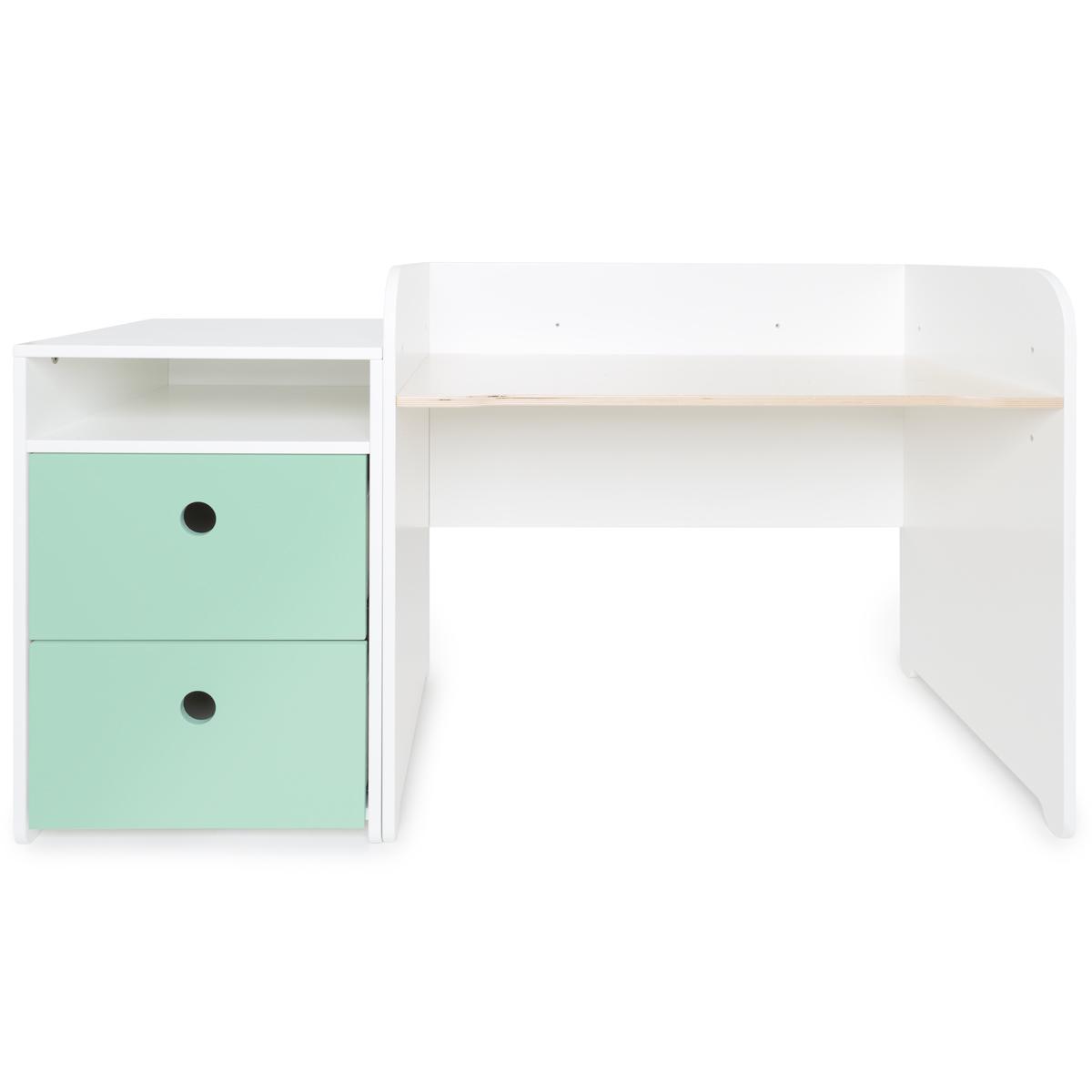 Escritorio evolutivo-mueble pequeño 2 cajones COLORFLEX Abitare Kids mint
