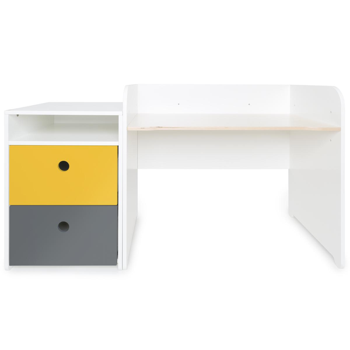 Escritorio evolutivo-mueble pequeño 2 cajones COLORFLEX Abitare Kids nectar yellow-space grey