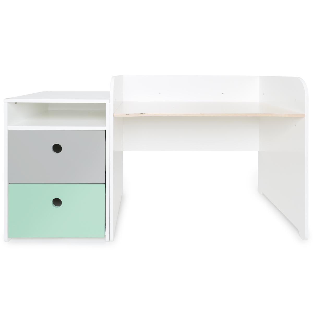 Escritorio evolutivo-mueble pequeño 2 cajones COLORFLEX Abitare Kids pearl grey-mint