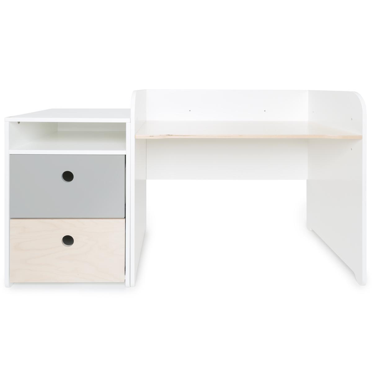Escritorio evolutivo-mueble pequeño 2 cajones COLORFLEX Abitare Kids pearl grey-white wash