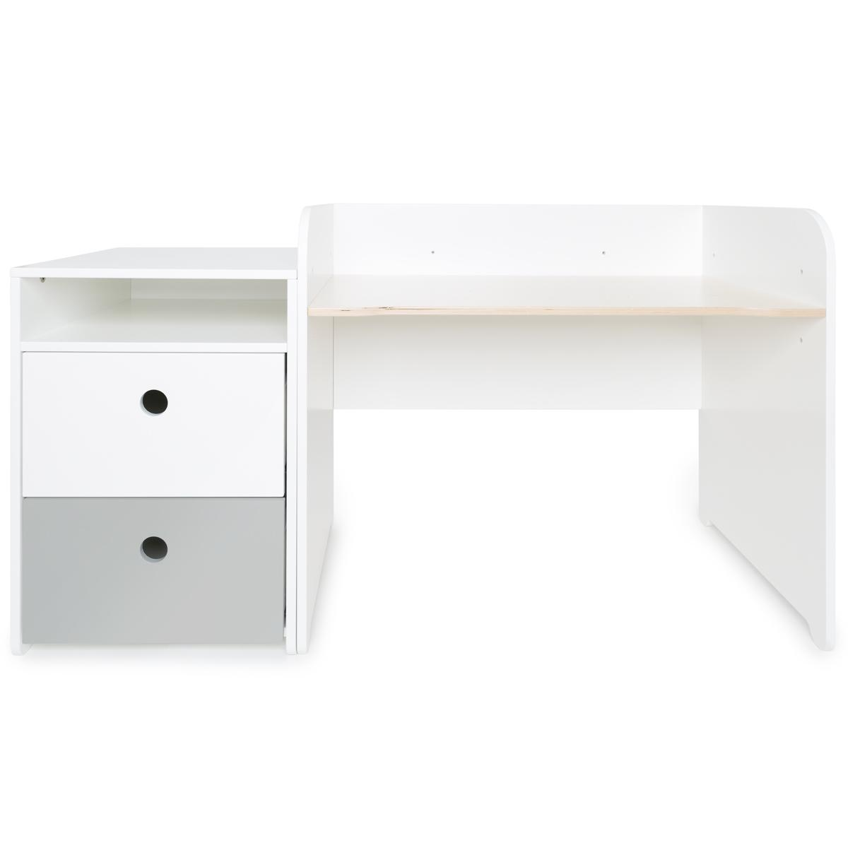 Escritorio evolutivo-mueble pequeño 2 cajones COLORFLEX Abitare Kids white-pearl grey