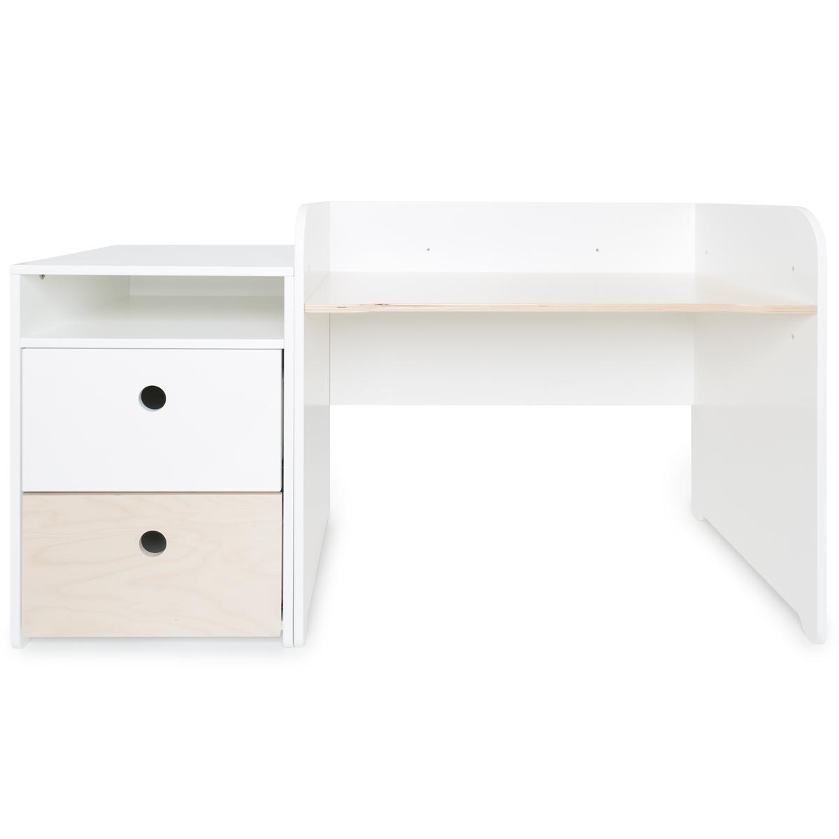 Escritorio evolutivo-mueble pequeño 2 cajones COLORFLEX Abitare Kids white-white wash