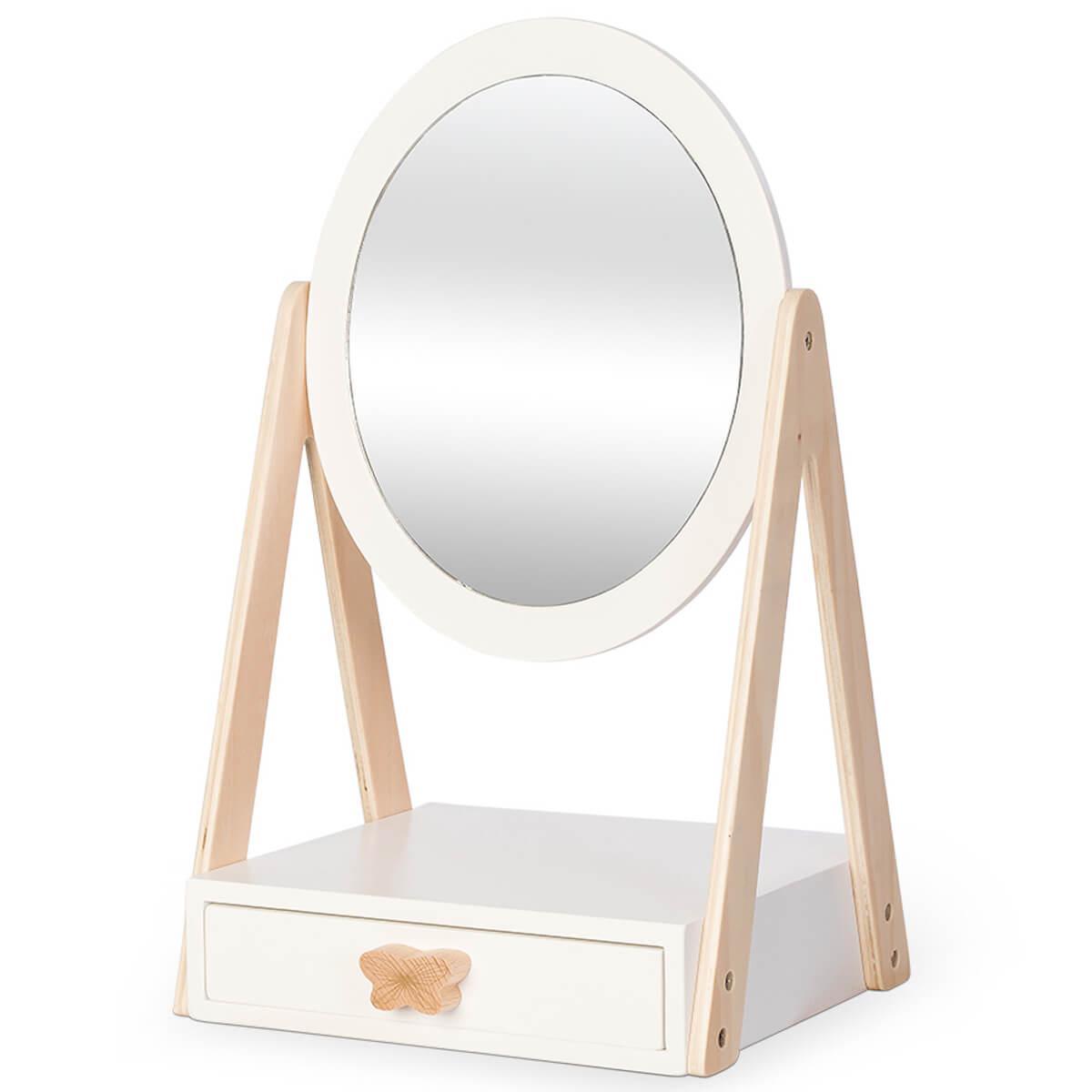 Espejo mesa-cajón Astrup blanco-natural