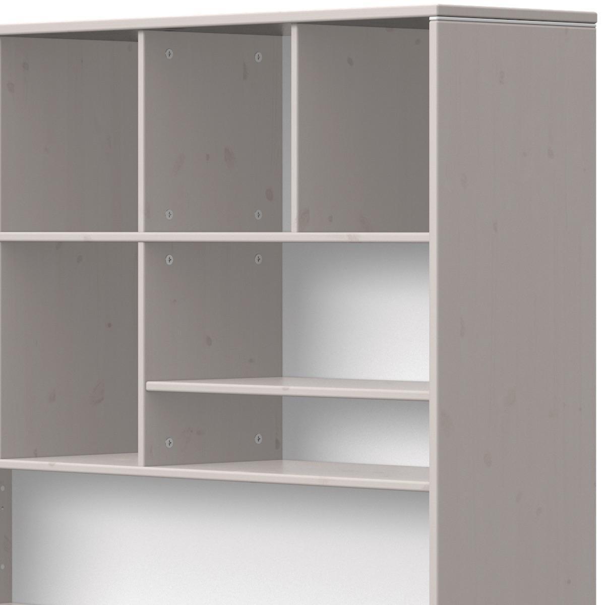 Estantería escritorio-cama 126x203cm CLASSIC Flexa grey washed-blanco