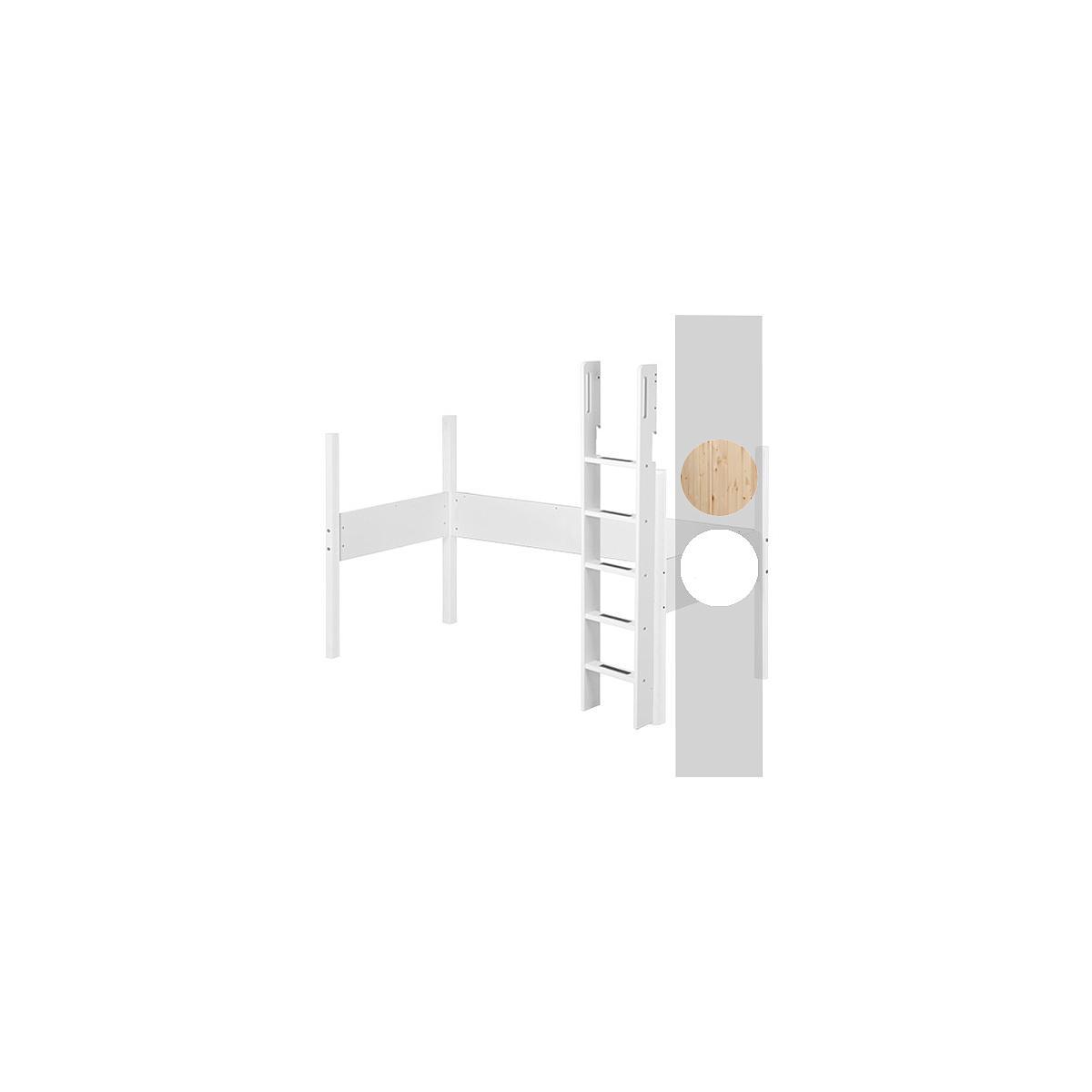 Estructura patas y escalera Cama alta 90x200 WHITE Flexa abedul