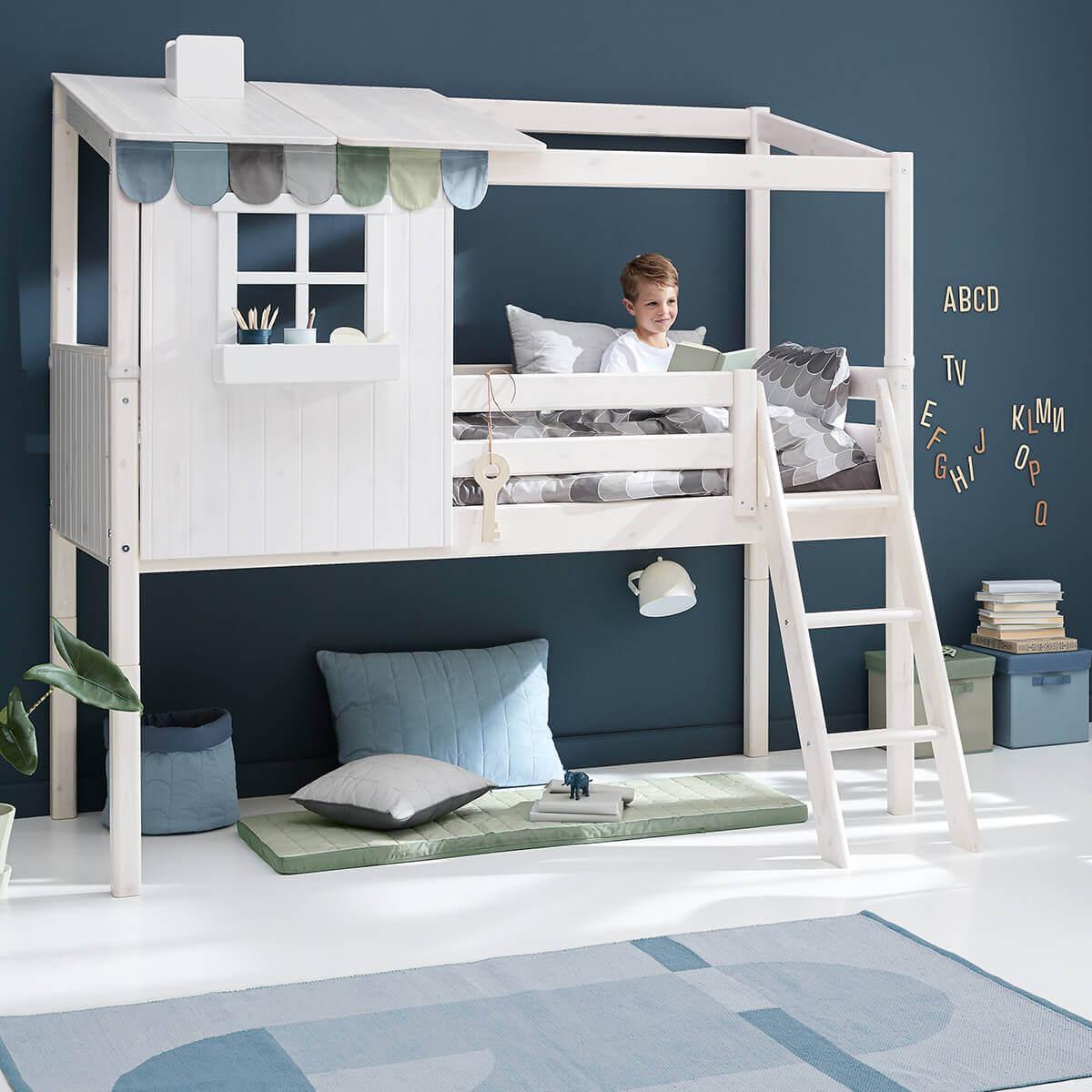 Estructura techo cama cabaña 200cm 1/2 PLAY HOUSE CLASSIC Flexa blanco cal-blanco