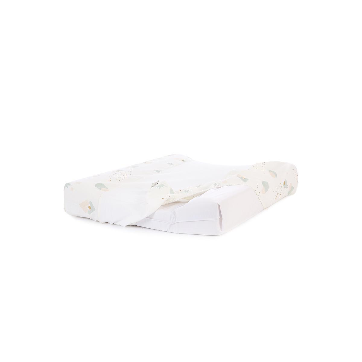 Funda colchón cambiador 70x50cm CALMA ELEMENTS Nobodinoz aqua eclipse-white