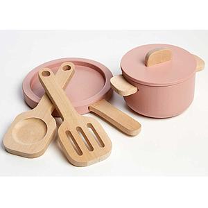 Juego imitación accesorios cocina PLAY Flexa light rosa-natural wood