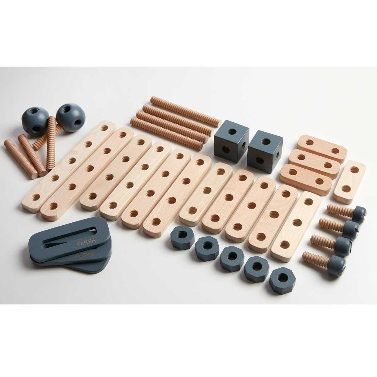 Juego imitación set construcción PLAY Flexa dark blue-natural wood