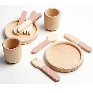Juego imitación vajilla PLAY Flexa light rosa-natural wood