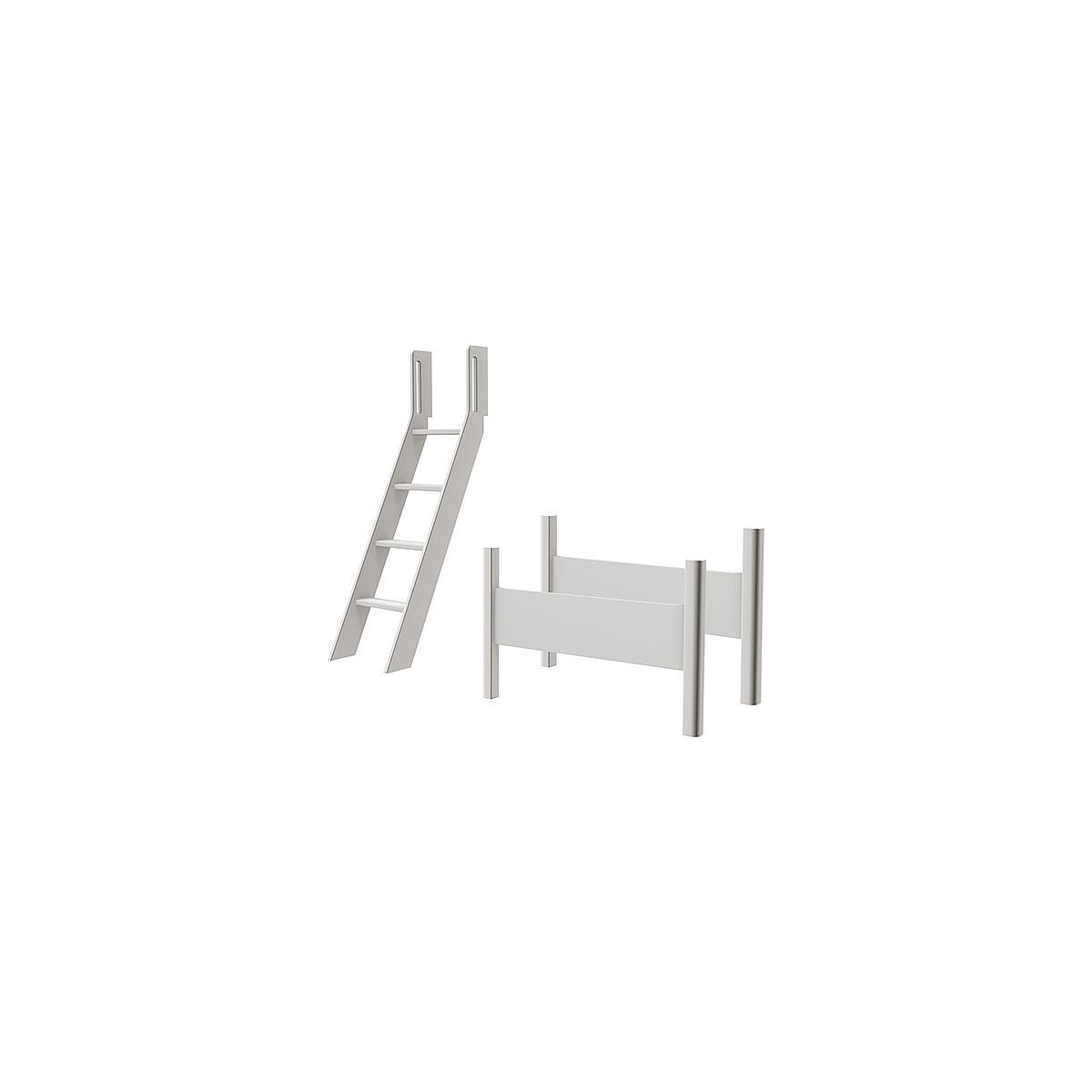 Kit elevación Cama semi alta WHITE Flexa escalera inclinada blanco