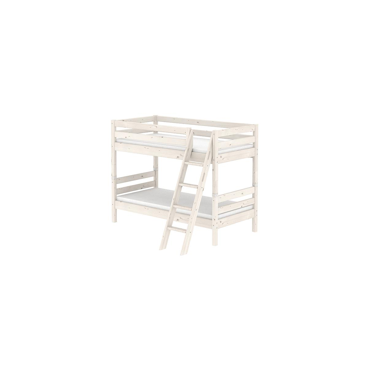 Litera 90x190 CLASSIC Flexa escalera inclinada blanco cal
