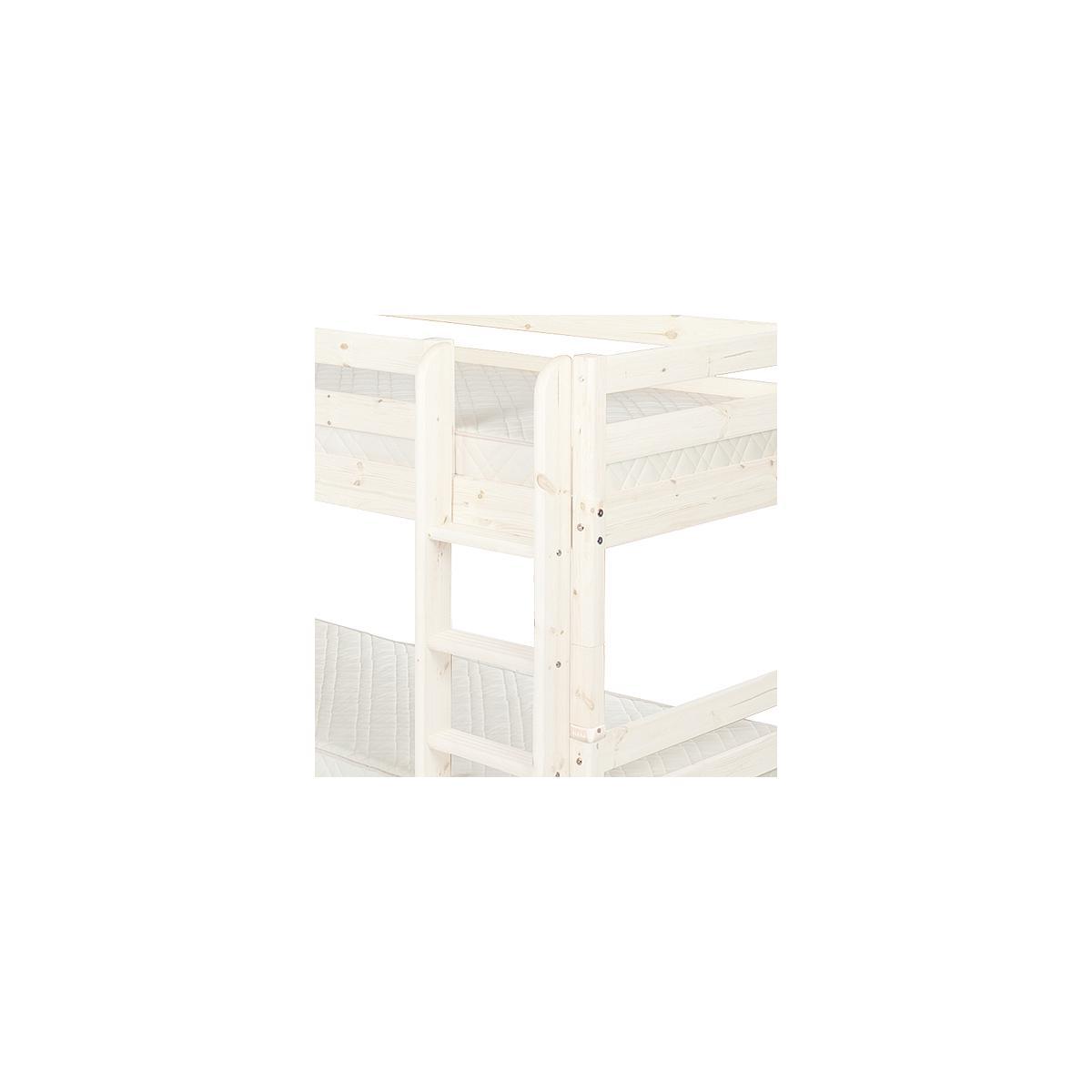 Litera 90x190 CLASSIC Flexa escalera recta 2 cajones blanco cal
