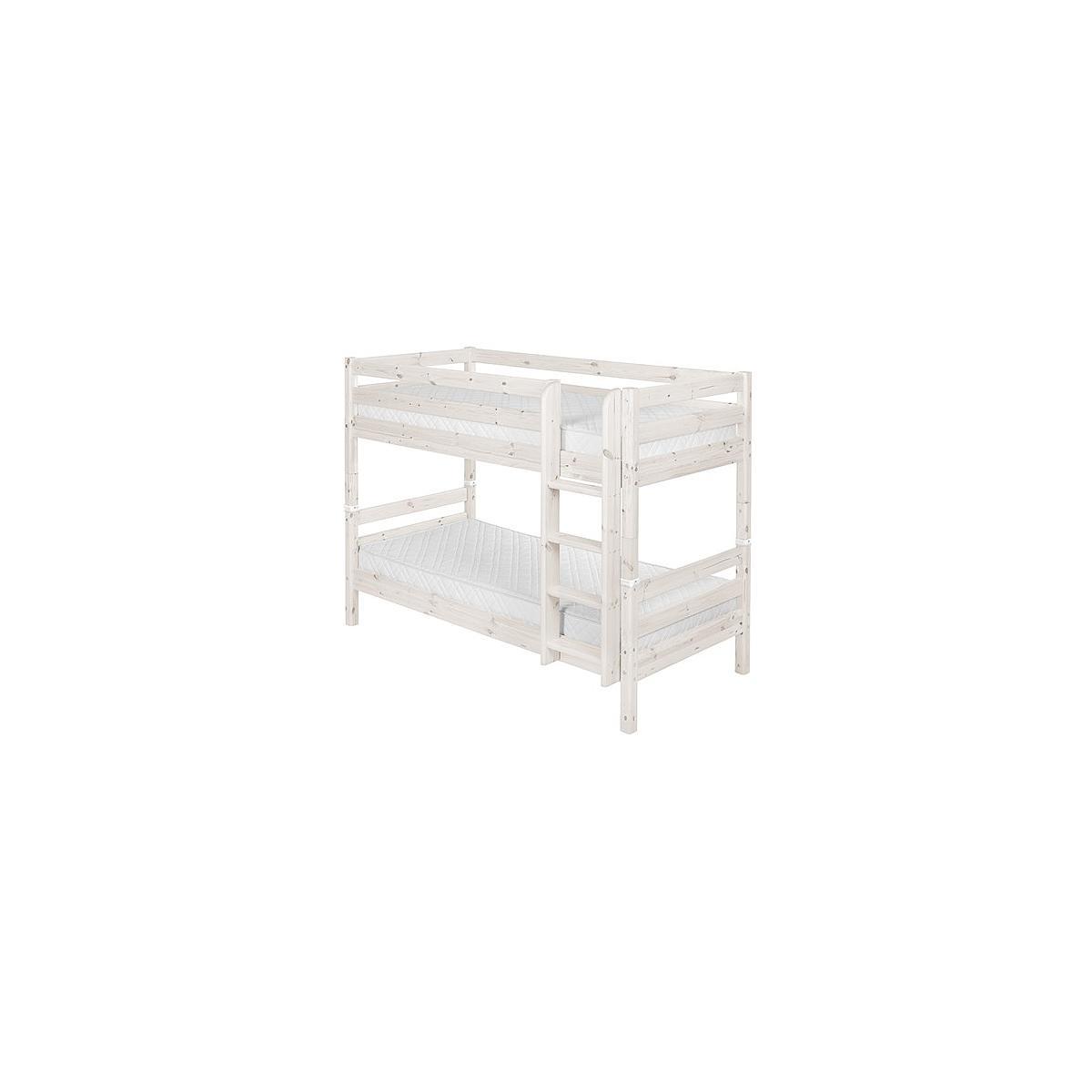 Litera 90x190 CLASSIC Flexa escalera recta blanco cal