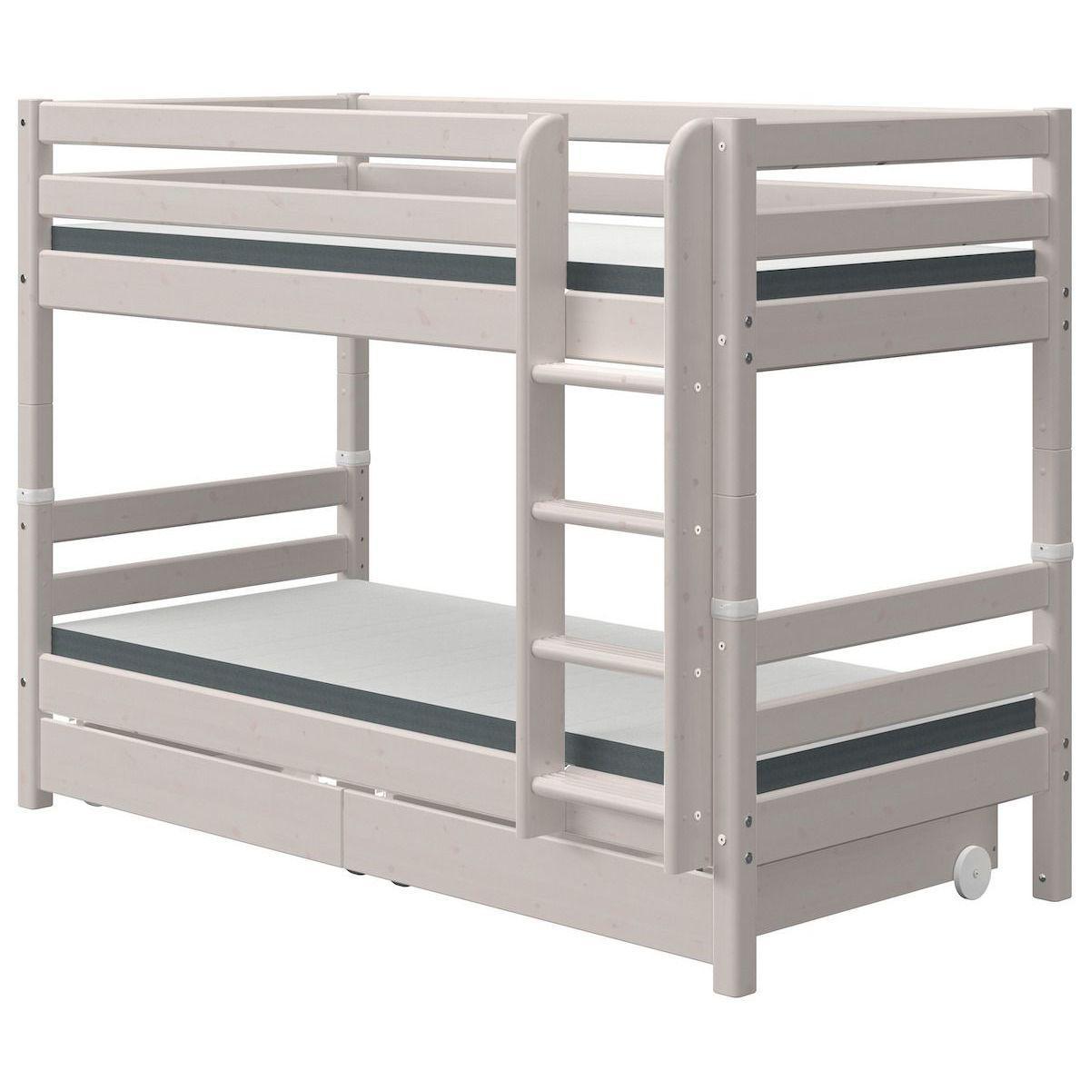 Litera 90x190cm escalera recta-2 cajones CLASSIC Flexa grey washed